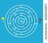circular maze with one way to... | Shutterstock .eps vector #1028333857