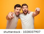 portrait of a two happy young... | Shutterstock . vector #1028337907