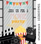 invitation for movie party ... | Shutterstock .eps vector #1028355901
