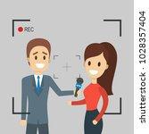 tv live report. journalist... | Shutterstock .eps vector #1028357404