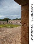 majestic ruins in uxmal mexico. ... | Shutterstock . vector #1028358541
