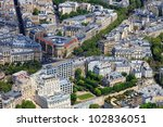 Aerial view of Paris architecture from the Eiffel tower Photo taken on: May 18th, 2010 - stock photo