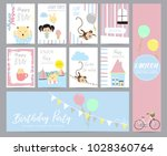 blue pink pastel greeting card...   Shutterstock .eps vector #1028360764