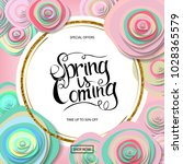 spring sale banner with paper... | Shutterstock .eps vector #1028365579