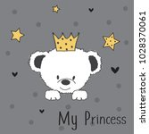 cute teddy bear princess vector ... | Shutterstock .eps vector #1028370061