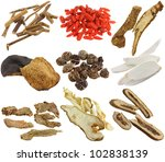 Small photo of Herbal medicine : Dried Chinese herbs isolated on white background (Achyranthes root, Wolfberry, Bai Zhu, Tangerine peels, Cardamom, Chinese yam, Ginseng, Kaffir lime & citrus peels, Bitter orange)