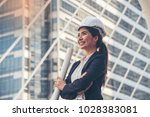 business asia woman engineer... | Shutterstock . vector #1028383081