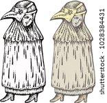 plague doctor with bird mask.... | Shutterstock .eps vector #1028384431