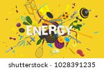 attractive 3d composition with... | Shutterstock . vector #1028391235