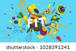 colorful attractive 3d rendered ... | Shutterstock . vector #1028391241
