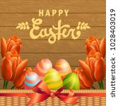 happy easter vector card with... | Shutterstock .eps vector #1028403019