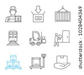 cargo shipping linear icons set.... | Shutterstock .eps vector #1028404369