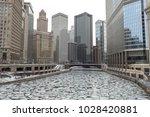 chicago winter frozen river... | Shutterstock . vector #1028420881