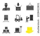 cargo shipping glyph icons set. ... | Shutterstock .eps vector #1028422831