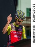 Small photo of Moena, Italy May 25, 2017: Professional Cyclist on the Podium signatures before departure before the start for a hard mountain stage on the Dolomites in the edition number 100 of Tour of Italy