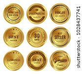 gold badges seal quality labels ... | Shutterstock .eps vector #1028437741