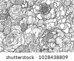 Stock vector vector floral peonies and roses black and white background ornament pattern 1028438809