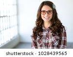 joyful fun vibrant female with... | Shutterstock . vector #1028439565