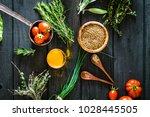 vegetables on wood. bio healthy ... | Shutterstock . vector #1028445505