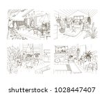 collection of contour sketch... | Shutterstock .eps vector #1028447407
