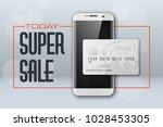 smartphone sale banner   credit ... | Shutterstock . vector #1028453305