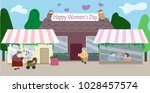 happy women's day banner street ... | Shutterstock .eps vector #1028457574
