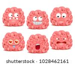 set of brain cartoon emoji... | Shutterstock .eps vector #1028462161