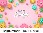 easter card with paper cut... | Shutterstock .eps vector #1028476801