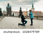 Small photo of A man makes a proposal to marry on Charles Bridge in Prague