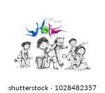 holi celebrations   boy playing ... | Shutterstock .eps vector #1028482357