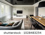 tv living room with modern sofa ... | Shutterstock . vector #1028483254