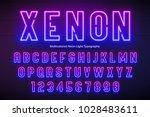 neon light alphabet ... | Shutterstock .eps vector #1028483611