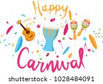 carnival lettering with party... | Shutterstock . vector #1028484091