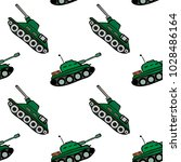cartoon hand drawn green tank ... | Shutterstock .eps vector #1028486164