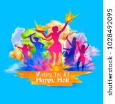 illustration of happy holi... | Shutterstock .eps vector #1028492095