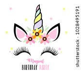 birthday party invitation with... | Shutterstock . vector #1028495191