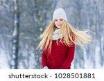 winter young teen girl portrait.... | Shutterstock . vector #1028501881