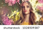 beautiful young model spring... | Shutterstock . vector #1028509387