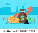 crowd sourcing and fundraising... | Shutterstock .eps vector #1028510914
