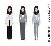 arab woman character pose with... | Shutterstock .eps vector #1028513047
