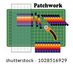 patchwork  sew narrow bands of... | Shutterstock .eps vector #1028516929