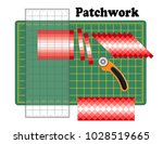 patchwork  sew narrow bands of... | Shutterstock .eps vector #1028519665