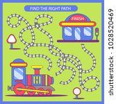 find the right path from train... | Shutterstock .eps vector #1028520469