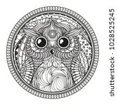 mandala with owl. zentangle.... | Shutterstock . vector #1028525245
