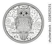 circle mandala with owl. design ... | Shutterstock . vector #1028525251