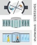 revolving door banner concept... | Shutterstock .eps vector #1028531401