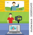 video blog channel banner... | Shutterstock .eps vector #1028531455