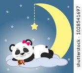 the sweet panda is sleeping on... | Shutterstock .eps vector #1028541697