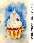 cupcake with whipped cream | Shutterstock . vector #1028542711