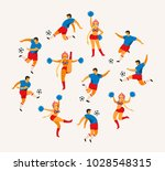 soccer players and cheerleaders ... | Shutterstock .eps vector #1028548315